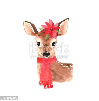 istock cute animal christmas deer with red scarf and flower, watercolor illustration 1276962680
