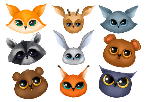 Cute animal muzzles on a white background. Heads of bear, fox, hare and other forest animals.