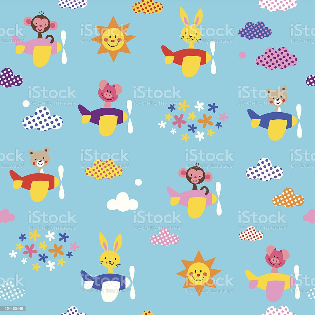cute animals in airplanes pattern royalty-free stock vector art