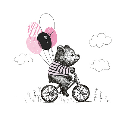 Cute baby boy bear wearing t-shirt riding a bicycle . Animal illustration. Can be used for kids for baby's shirt design. fashion print design, fashion graphic, t-shirt, kids wear.