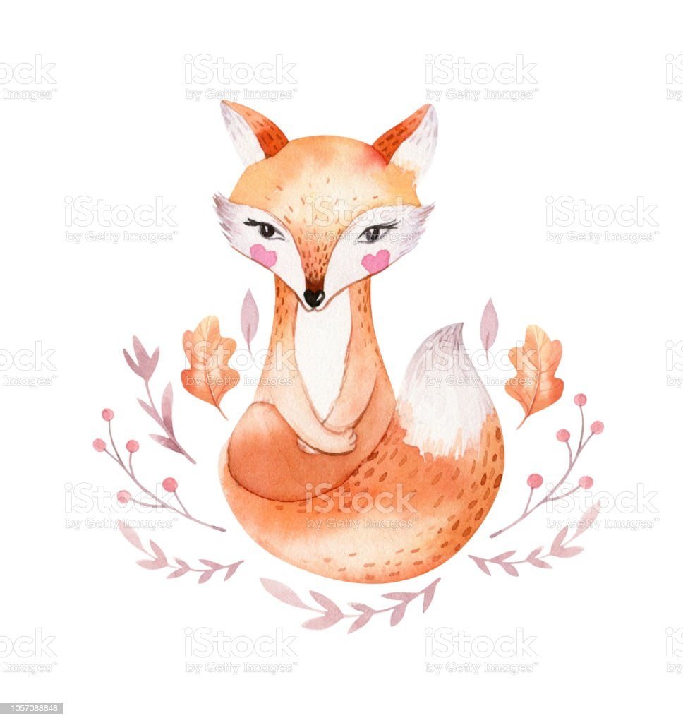 Cute Baby Fox Deer Animal Nursery Bird And Bear Isolated Orange Themed Circuit Board Drawing Vector Clipart Illustration For Children Watercolor