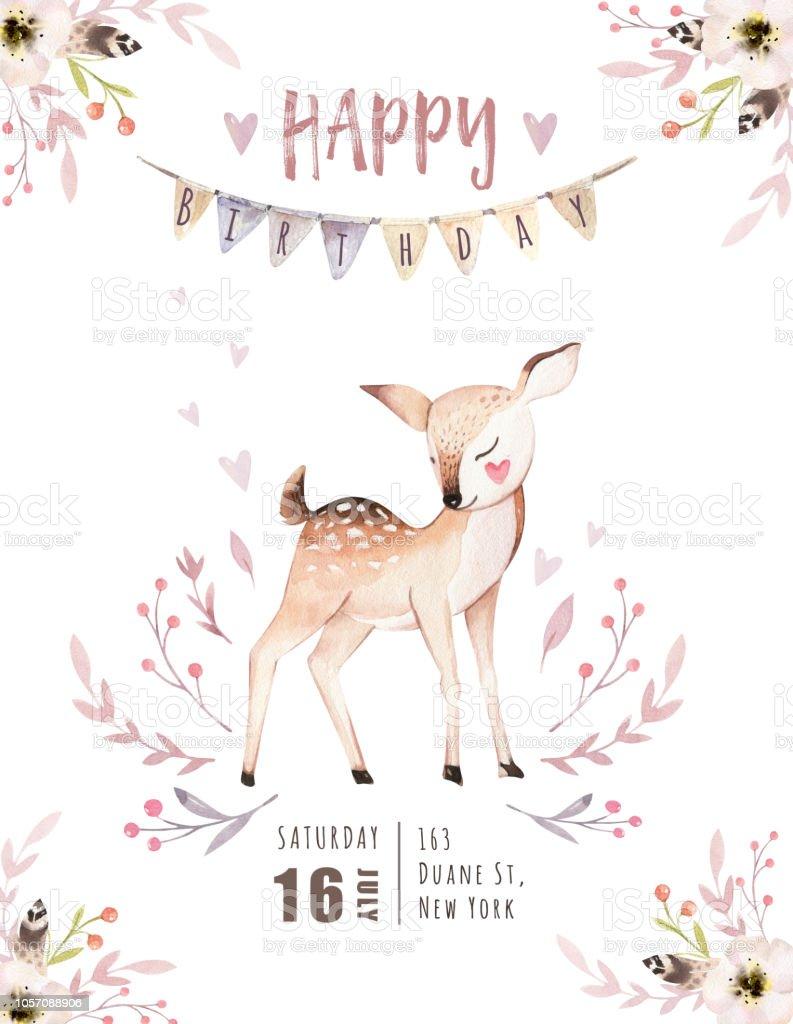 Schattige Baby Fox Herten Dier Kwekerij Vogel En Beer Geisoleerd