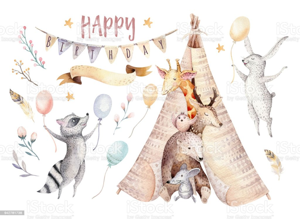 Cute baby giraffe, deer animal nursery mouse and bear, raccoon and bunny isolated illustration for children. Watercolor boho forest cartoon Birthday patry invitation Perfect for nursery posters, patterns royalty-free cute baby giraffe deer animal nursery mouse and bear raccoon and bunny isolated illustration for children watercolor boho forest cartoon birthday patry invitation perfect for nursery posters patterns stock illustration - download image now