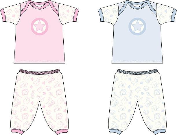 süßes baby-symbol pyjamas/schlafanzug - pastellhosen stock-grafiken, -clipart, -cartoons und -symbole