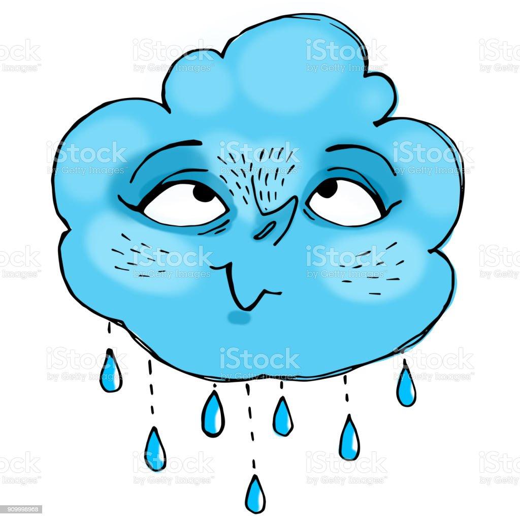 Cute Baby Little Cloud Doodle Illustration Emoji Sticker