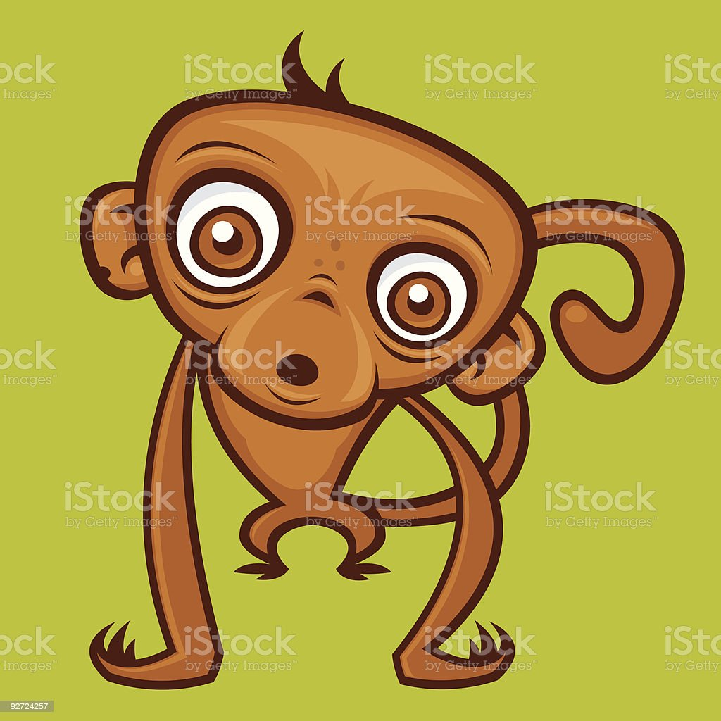 Cute Baby Monkey vector art illustration