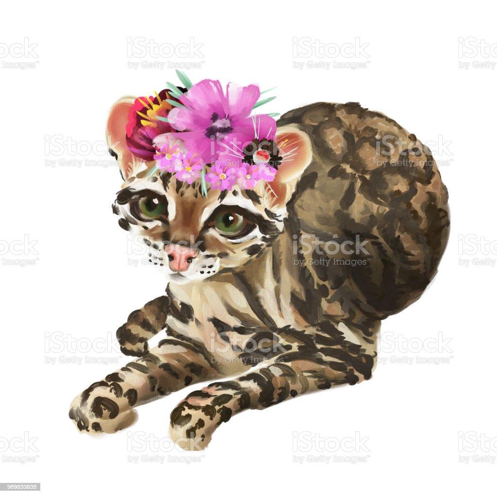 Cute Baby Ocelot Cat In Floral Crown Flowers Wreath Tropical Bouquet