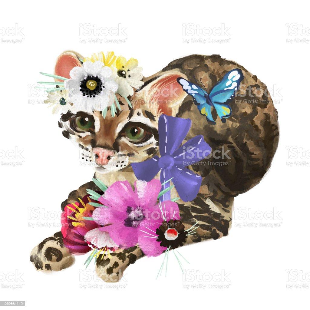 Cute baby ocelot cat in floral crown flowers wreath tropical bouquet cute baby ocelot cat leopard jaguar in floral crown flowers wreath izmirmasajfo