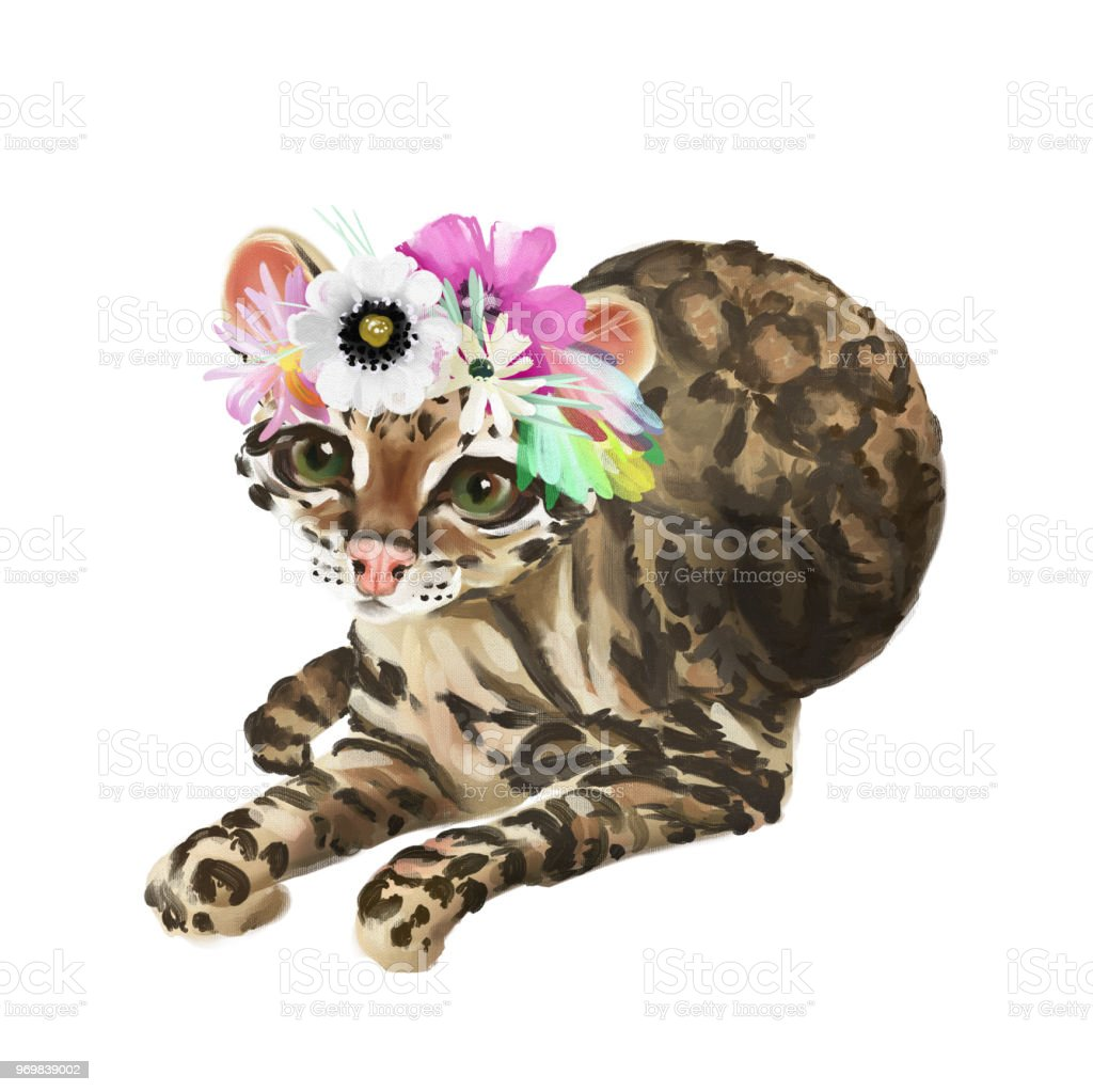 Cute Baby Ocelot Cat In Floral Crown Flowers Wreath Tropical Bouquet