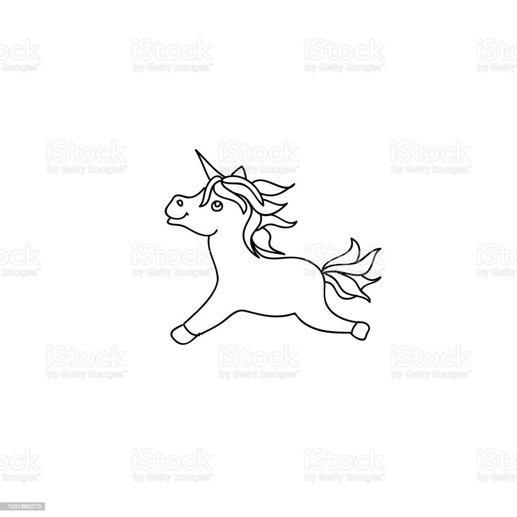 Cute Baby Unicorn Pony Kids Coloring Page Line Art Isolated On White ...