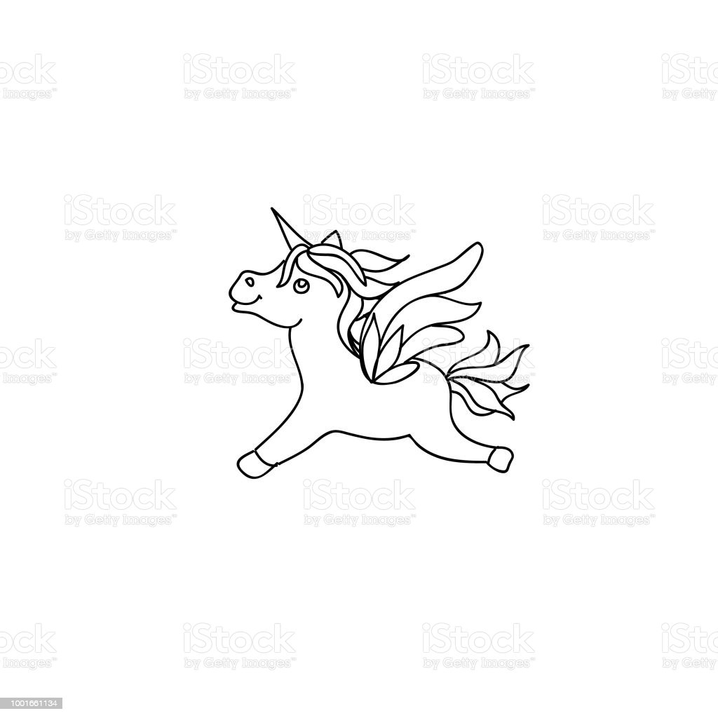 Enfants De Poney Mignon Bebe Licorne Coloriage Dessins Au Trait Page