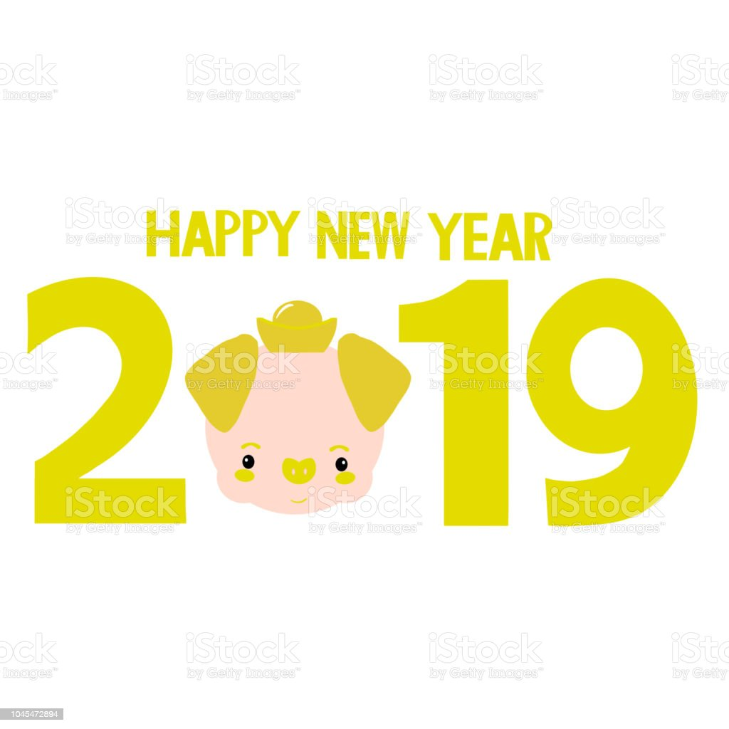 cute banner celebration pig with golden 2019 new year background royalty free cute banner