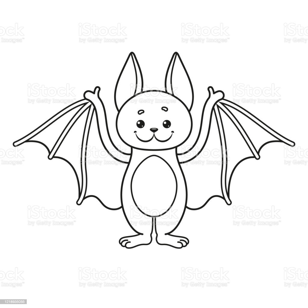 Cute Bat Coloring Page Funny Character Stock Illustration