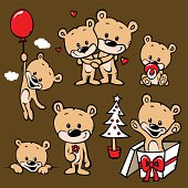 """""""cute bear family cartoon with heart, gift, pacifier, balloon, flower and christmas tree"""""""