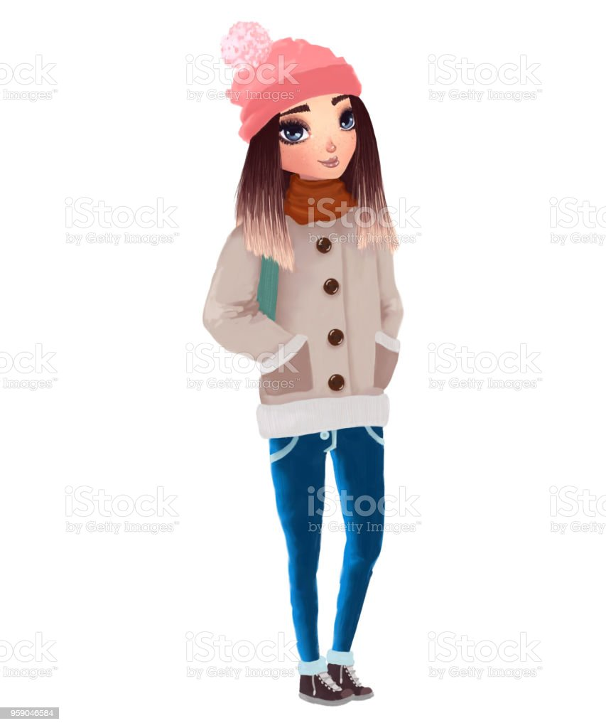 cute beautiful girl wearing warm winter clothes raster illustration vector art illustration