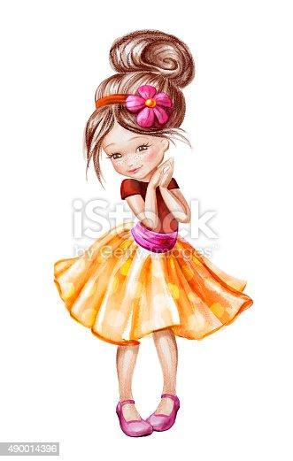 Cute Beautiful Happy Little Girl Watercolor Painting