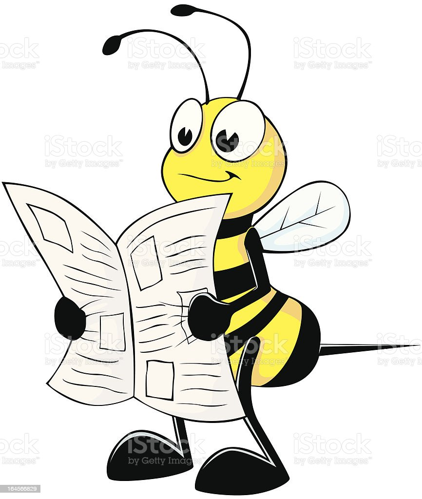 cute bee reading newspaper stock vector art more images of adult rh istockphoto com Reading Book Clip Art Reading Book Clip Art