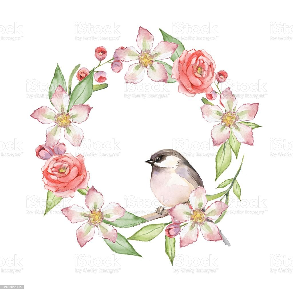 Cute Bird On Floral Wreath 1 Watercolor Painting Stock