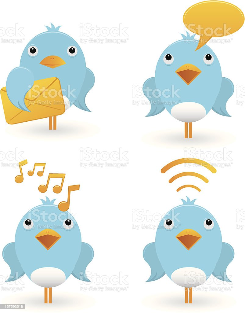 cute birds communication icons vector art illustration