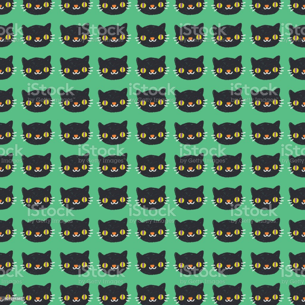 Cute Black Cat Halloween Pattern Background Stock Vector Art & More ...