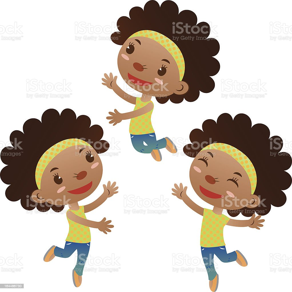 cute black girl dancing and jumping vector art illustration