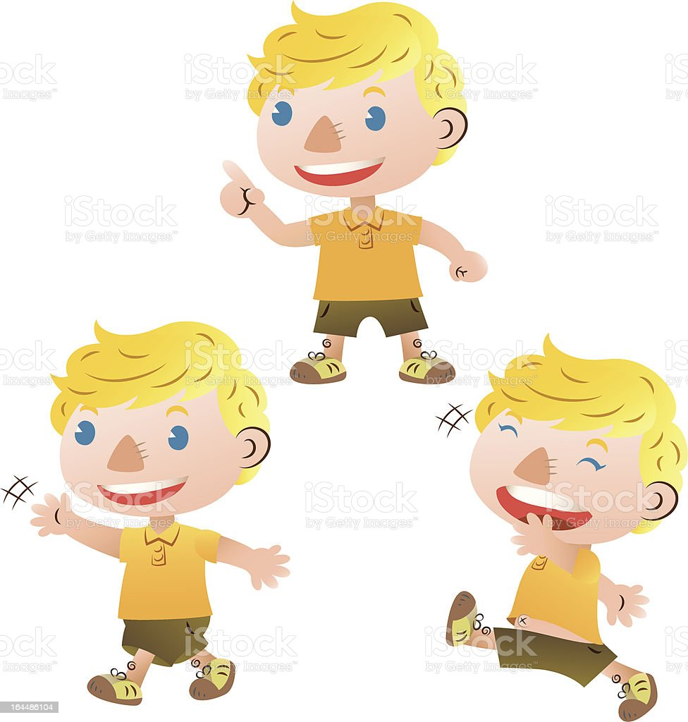 cute blond boy walking and talking royalty-free stock vector art
