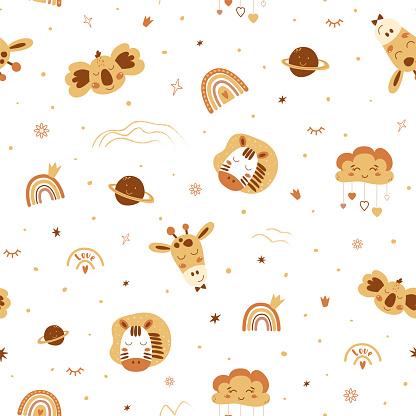 Cute boho animals pattern. Baby animals, rainbows. Boho safari animals. Yellow neutral seamless pattern.