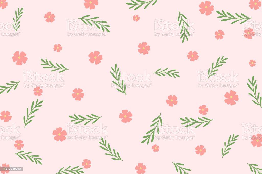 Botanics Mignon Motif Fleur Rose Et Une Feuille Verte Sur Fond Rose