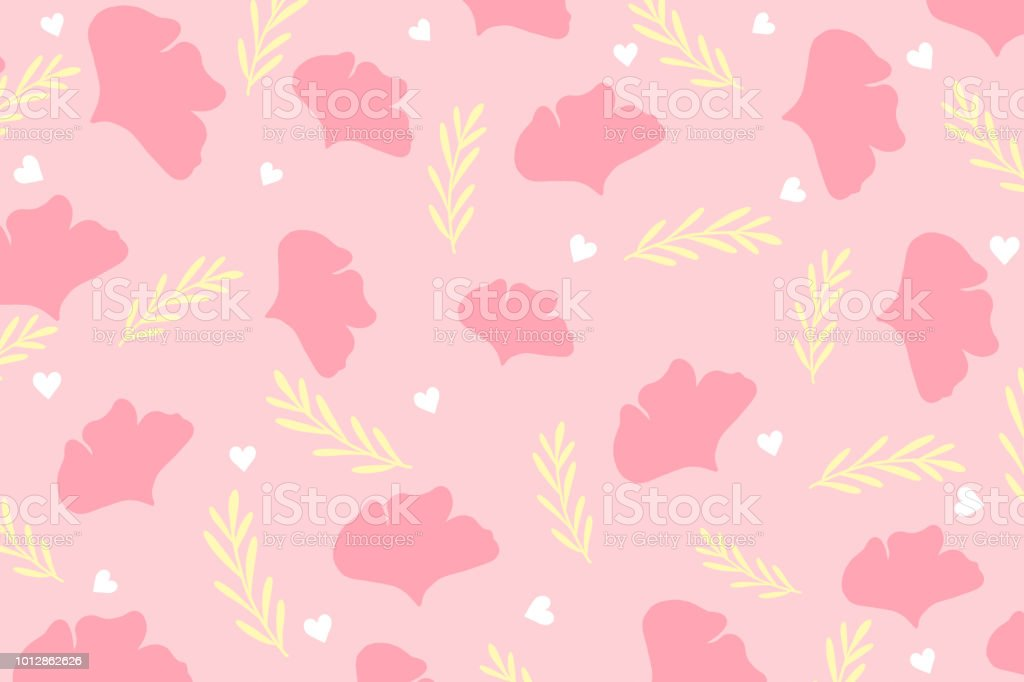 Cute Botanics Pattern With Pink Petal White Heart And Yellow Leaf On Pastel Background In
