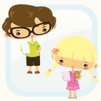 cute boy and girl playing tablet computer