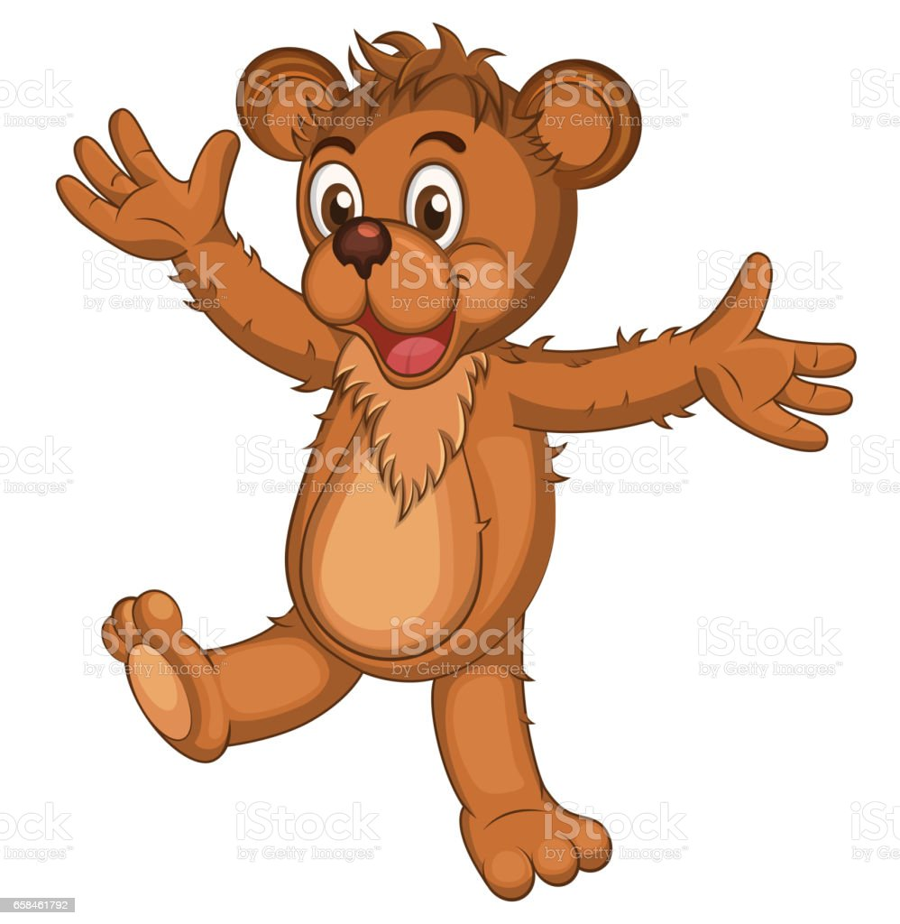 bd07c73c8 Cute brown cartoon bear. Isolated Laughing bear raising his arms.  Illustration - Illustration .