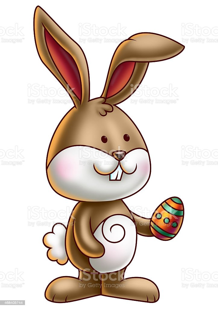 Cute Brown Cartoon Bunny holding an Easter Egg vector art illustration