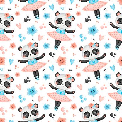 Cute cartoon ballet seamless pattern. Panda ballerina pattern. Bear ballerina pattern.