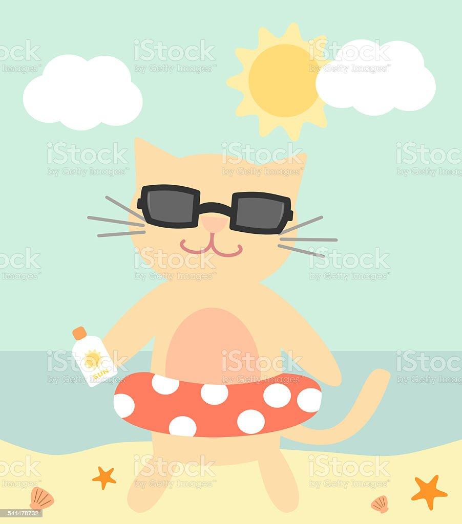 かわいい漫画の猫ビーチの夏の面白いイラストレーション のイラスト