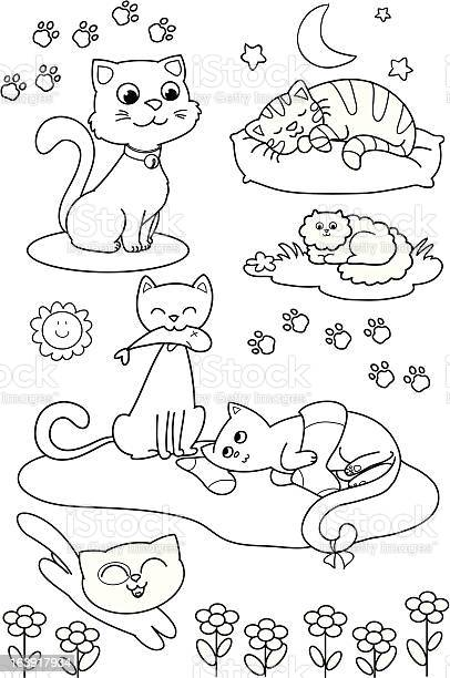 Cute cartoon cats coloring page illustration id163917934?b=1&k=6&m=163917934&s=612x612&h=2ddrtzx8ke9mnudhgxcbkovhlehycnflh 0j7kvaoxc=