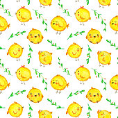 Cute cartoon chicken pattern. Funny yellow chickens in different poses illustration. Funny Easter chicken seamless pattern.