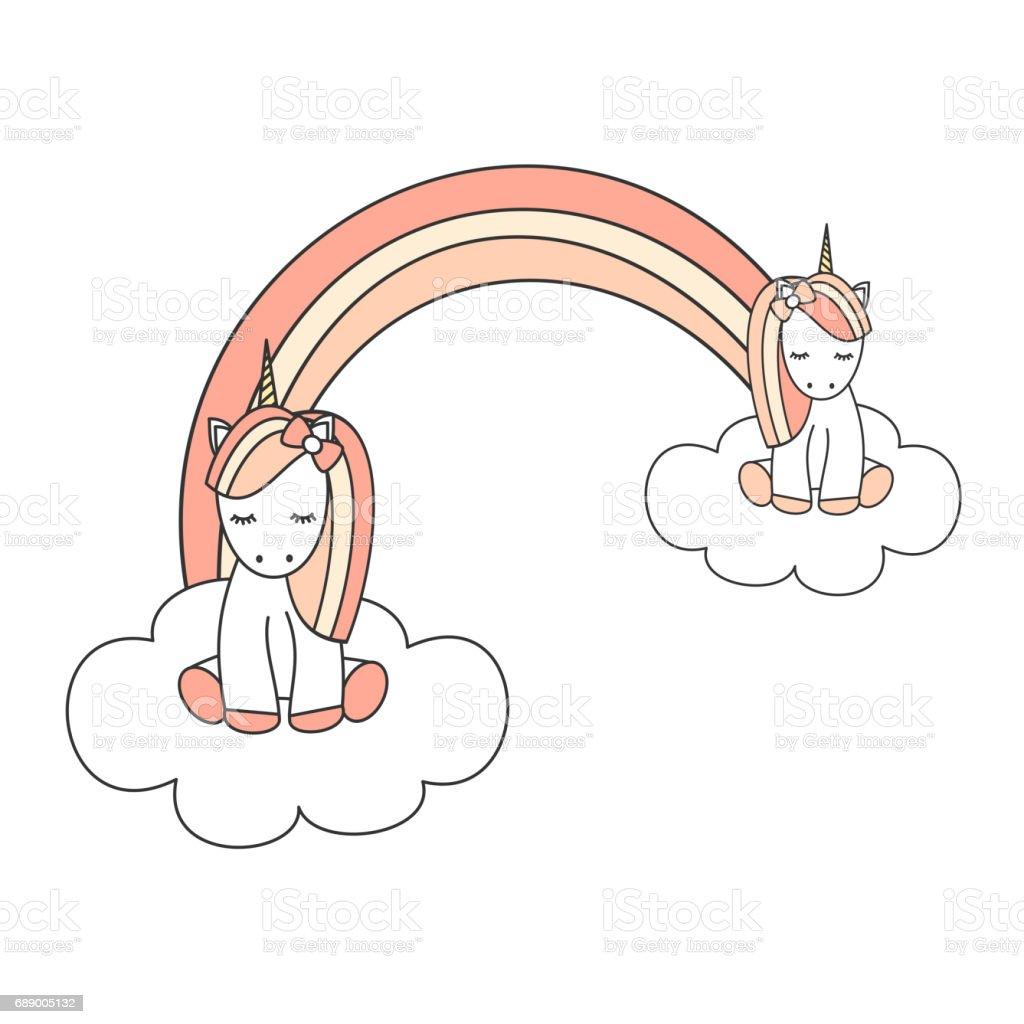 Mignon Petit Licornes Sur Un Nuage Avec Arcenciel De Dessin Animé