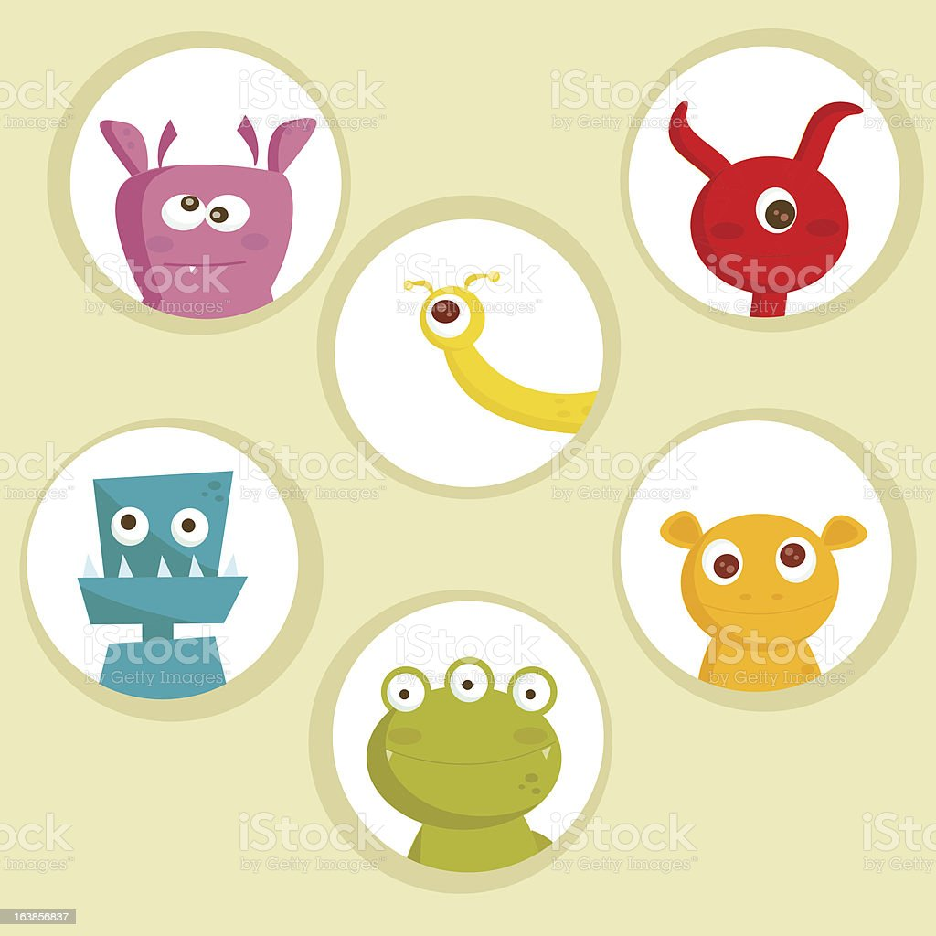 Cute cartoon monsters royalty-free stock vector art