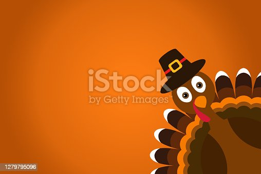 istock Cute Cartoon Turkey Pilgrim with hat on orange gradient background Thanksgiving poster. 1279795096