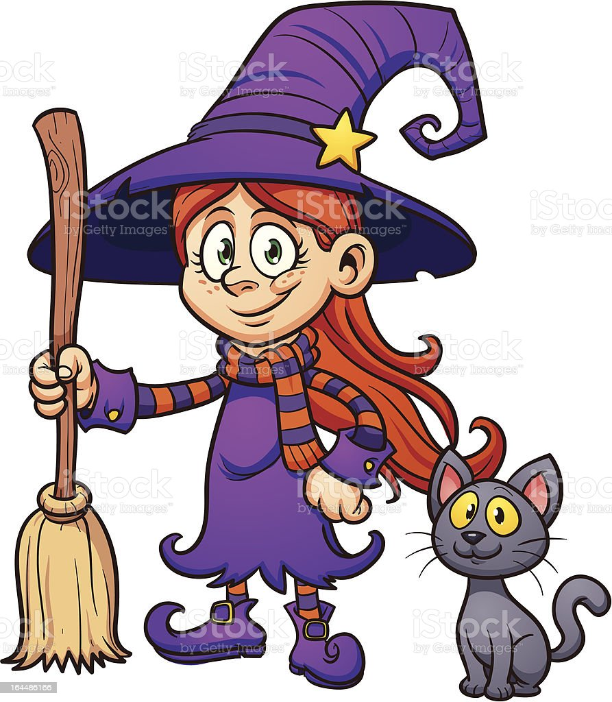 Cute cartoon witch royalty-free stock vector art