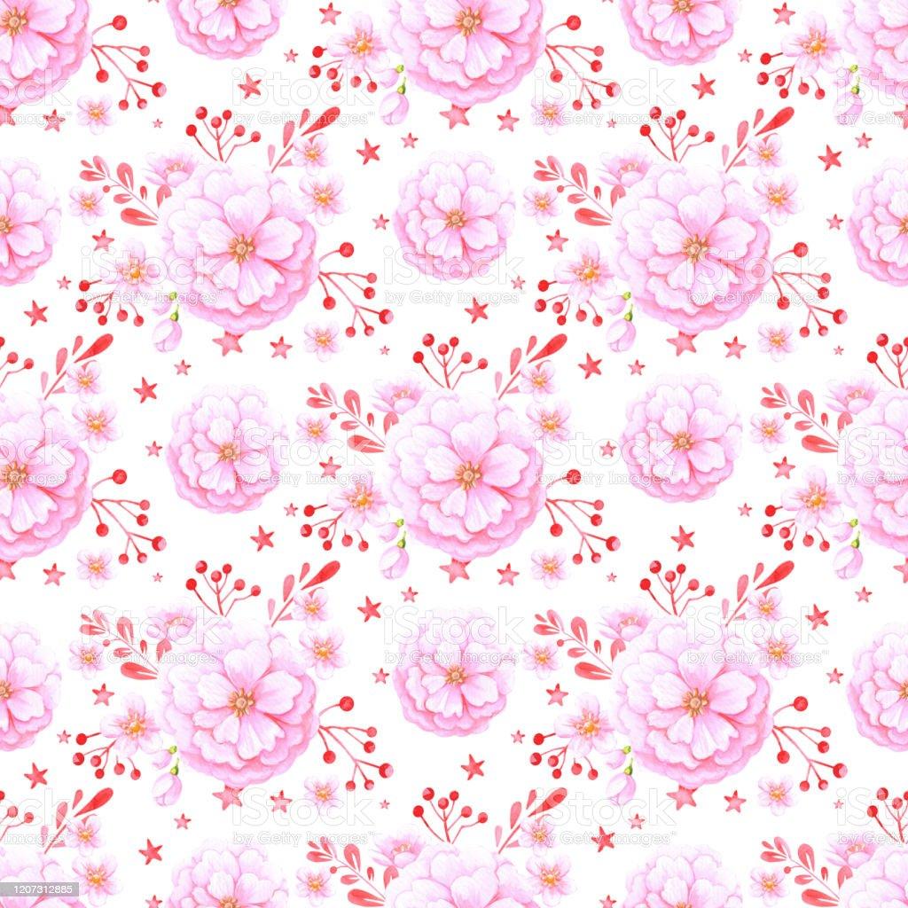 かわいい桜と桜の壁紙シームレスな水彩の背景女の子のための生地のデザイン イラストレーションのベクターアート素材や画像を多数ご用意 Istock