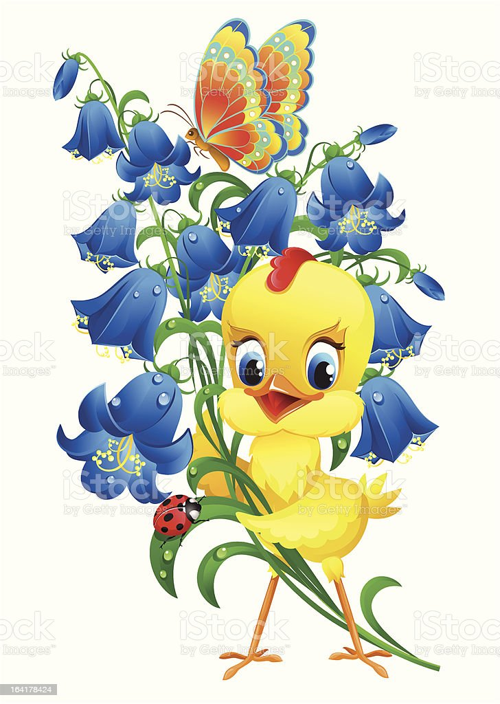 Cute chick with flowers royalty-free stock vector art