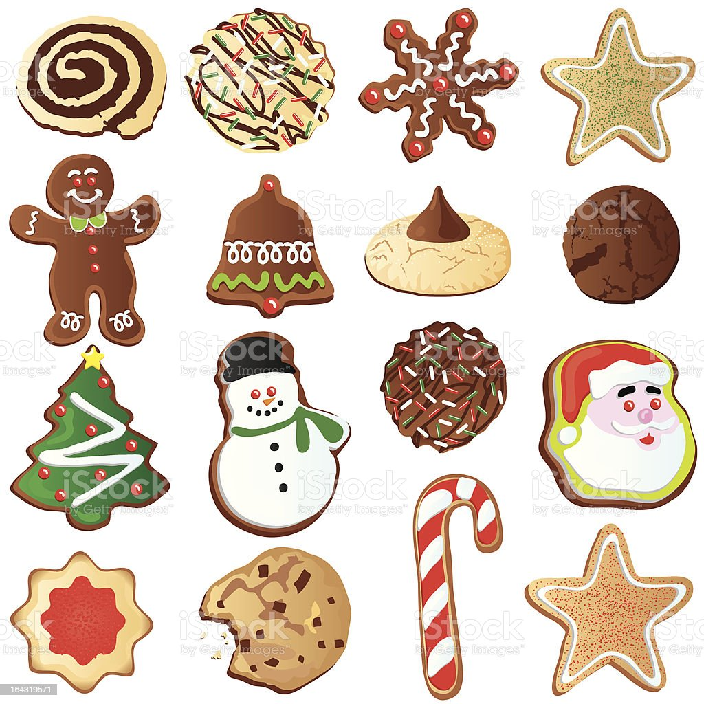 Cute Christmas Cookies vector art illustration
