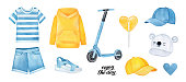 Cute collection of sportive clothes and accessories: shorts, t-shirt, baseball caps, kick scooter, warm hoodie and sandals. Hand painted watercolour graphic drawing, cutout cliprt element for design.
