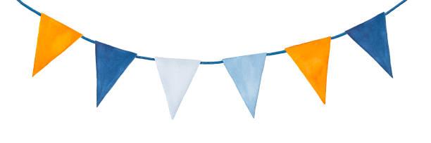 Bonito, colorido, festa festão com bandeiras festivas decorativas. - ilustração de arte em vetor