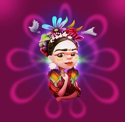 Cute Colorful Woman Portrait Illustration