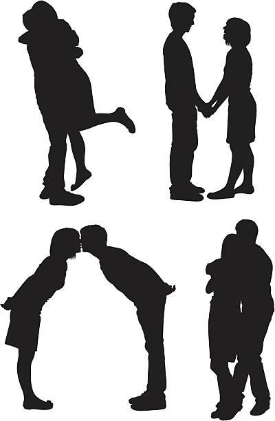 bildbanksillustrationer, clip art samt tecknat material och ikoner med cute couple in different poses loving each other - young couple