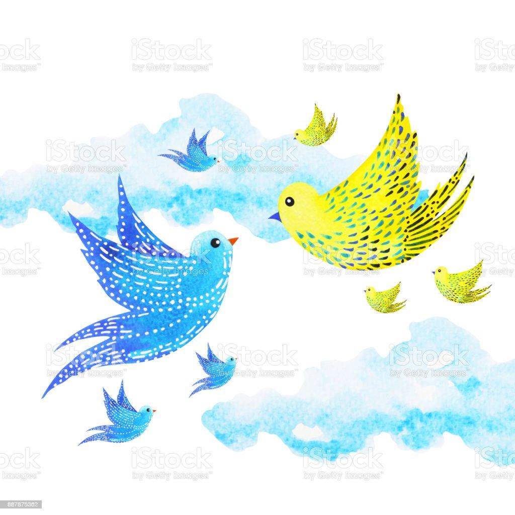 şirin çift Sevgilisi özgür Kuşlar Gökyüzünde Suluboya Resim çizim