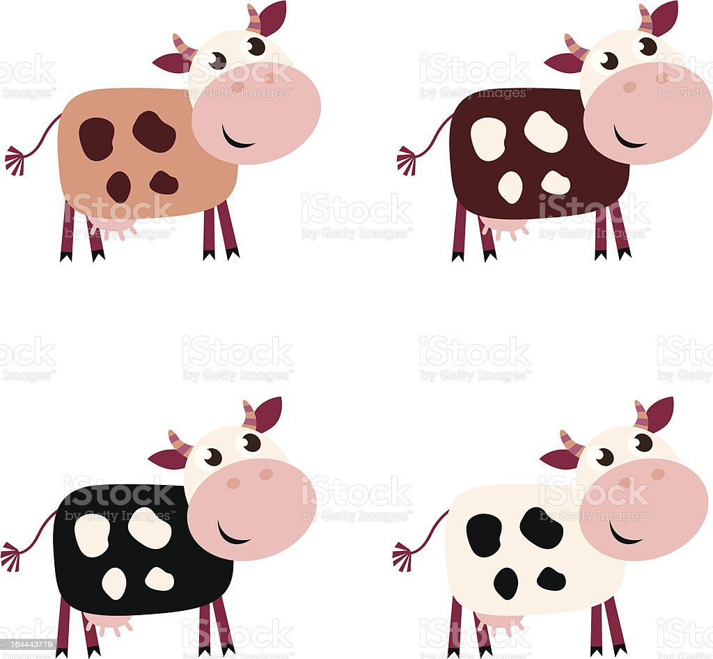 Cute cow isolated on white background vector art illustration