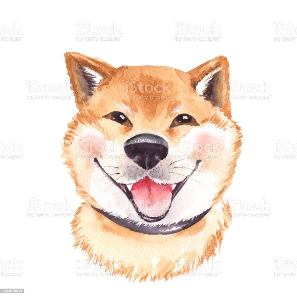 Cute dog sketch. Watercolor – artystyczna grafika wektorowa